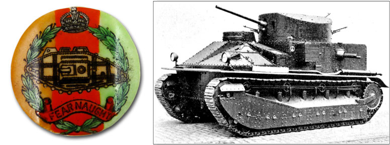 Crest of the Royal Tank Corp; Vickers Mark I tank c.1924