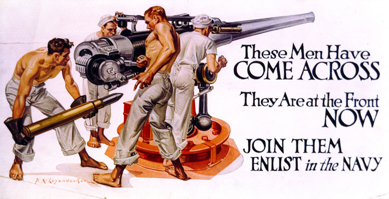 American World War 1 Navy recruiting poster by P N Leyendecker.