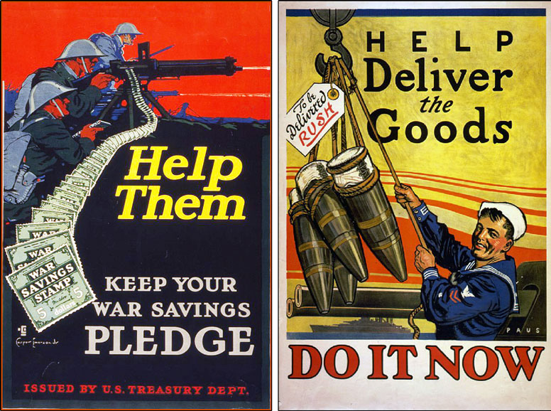 US Treasury  					poster for War Savings Stamps; Recruitment poster for the US Navy.
